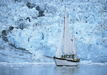 Sailing past Surprise Glacier, Prince William Sound, Alaska in a restored wooden boat