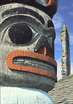 Alaska native (Chilkat) totem poles in the village of Haines, Alaska