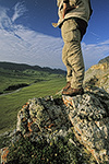 A hiker on summer tundra above Atigun Gorge, Arctic National Wildlife Refuge, Brooks Range, Alaska