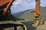 Construction equipment on the Dalton Highway used to repair a section of the Alaska Oil Pipeline at Atigun Pass, Brooks Range, arctic Alaska