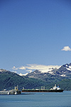 A tanker ship at the Alaska Oil Pipeline Terminal, Valdez, Prince William Sound, Alaska.