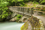 Path leading to wooden footbridge over Avalanche Creek