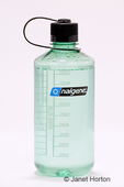 Nalgene water bottle with white background.