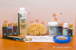 Wall stencil supplies (brushes, wall stencils, acrylic paint, brush cleaner and tape) in a studio setting