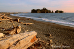 Driftwood on beach and seastacks at sunset.  A stack is a geological landform consisting of a steep and often vertical column or columns of rock in the sea near a coast. Stacks are formed when part of a headland is eroded, leaving a small island.  A pillar-like eroded remnant of a coastal cliff.