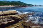 Rock layers along seashore show uplifted rock plates.