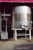 Stainless steel wine storage tank at Stags Leap Winery.