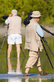 One photographer shooting and one photographer carrying tripod, wading in Little Estero Lagoon