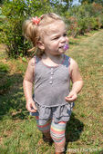 Twenty month old Lily having fun at a U-Pick Blueberry Farm
