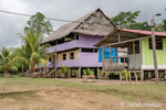 Homes on stilts in the village of Puerto Miguel in the Amazon rainforests of Peru.