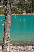 Canoers in Lake Louise in Banff National Park, Alberta, Canada.  (For editorial use only)