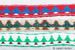 Three tree pattern card-woven belts made by Robert Monsen taken in his home