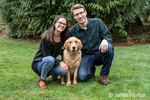 "Issaquah, Washington, USA.  Portrait of a nine month old Golden Retriever ""Aspen"" with her owners.  (PR) (MR)"