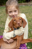 """Issaquah, Washington, USA.  Six year old girl hugging her five month old Vizsla puppy """"Pepper""""."""