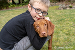 Issaquah, Washington, USA.  Six year old boy hugging his five month old Vizsla puppy