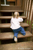 15 month old toddler climbing steps in Issaquah, Washington, USA