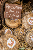 Cortona, Italy.  Pecorino Sotto Paglia cheese rounds aged under straw.