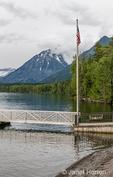 Boat docks behind Lake McDonald Lodge, Lake McDonald, Montana, USA