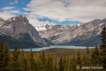 View of Athabasca River and glaciers along the Icefields Parkway in Banff National Park, Alberta, Canada