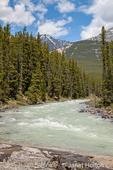 Jasper National Park, Alberta, Canada.  Sunwapta River right above the falls.