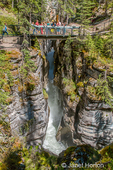 Footbridge overlooking Maligne Canyon near Jasper, Jasper National Park, Alberta, Canada.  The Maligne river flows through the bottom of the Canyon.  (For editorial use only)