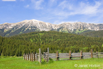 Bozeman, Montana, USA.  Bridger Mountains landscape with wooden corral.