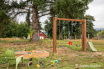 Play equipment in a rural backyard in Maple Valley, Washington, USA