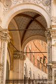 Siena, Italy.   Entrance to Palazzo Pubblico.