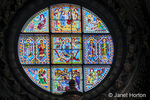 Siena, Italy.  Stained glass window by DUCCIO di Buoninsegna in the Cathedral of Santa Maria Assunta.
