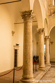 Pienza, Tuscany, Italy.  Columns in the town square, or cloister in Palazzo Piccolomini Pienza. (For Editorial Use Only)