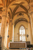 Pienza, Tuscany, Italy. Main altar and beautiful rib vaulting in the ceilings of the nave of the Pienza Cathedral (duomo) of Santa Maria Assunta.  (For Editorial Use Only)