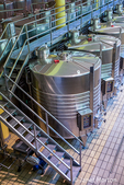 Montalcino, Tuscany, Italy.  Wine vats in the Altesino Winery. (For Editorial Use Only)