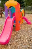 Preschool playground equipment (plastic climbing and sliding equipment) which is less than 5 feet high