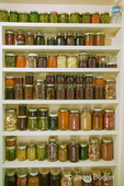 Pantry of preserved fruits and vegetables in canning jars