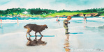 """""""Beach Dog and Boy""""  watercolor painting created by Betsy Dahlstrom in August 2006."""