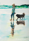 """Beach Dog and Girlfriend""  watercolor painting created by Betsy Dahlstrom in Aug 2006."