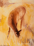 """Grazing Elk""  watercolor painting created by Betsy Dahlstrom in Oct. 2006."