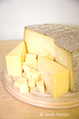 Valley Girl cheese round, wedges and cubes, a cave aged, semi-hard cow's milk cheese made at River Valley Farm