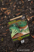 Organic seed packet as id sign at a community garden