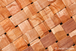 Close-up of a woven mat made of pliant inner bark of a Western Red Cedar tree in Western Washington