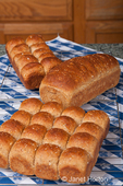 Multigrain rolls and loaf on cooling rack on counter covered by tea towel