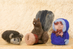 Dry felted hedgehog, squirrel holding acorn and eskimo man made from sheep's wool