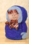 Dry felted eskimo man with beard made of sheep's wool