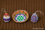Huichol beaded bowl (from Mexico made by the Huichol Indians) and huichol-styled egg decorations made by Marilyn Romatka