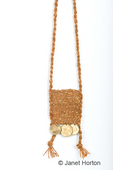 Amulet bag made with wool yarn and Greek coins, twined on a weighted warp loom
