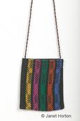 Multi-colored purse woven on a multi-shaft loom