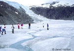 People walking on Mendenhall Glacier beside a small stream