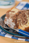 Slices of coffee cake on a small plate