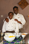 Male and female breakfast chefs posing at the Cresta Mowana Safari Lodge