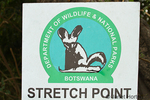 Stretch Point sign made by the Department of Wildlife and National Parks, to indicate it is okay to get out of your safari vehicles at this point, in Chobe National Park